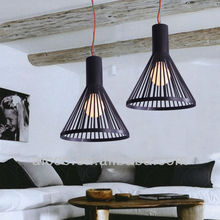 Popular LED E27 E26 black iron line shade with red colorful cable pendant ceiling chandelier lighting