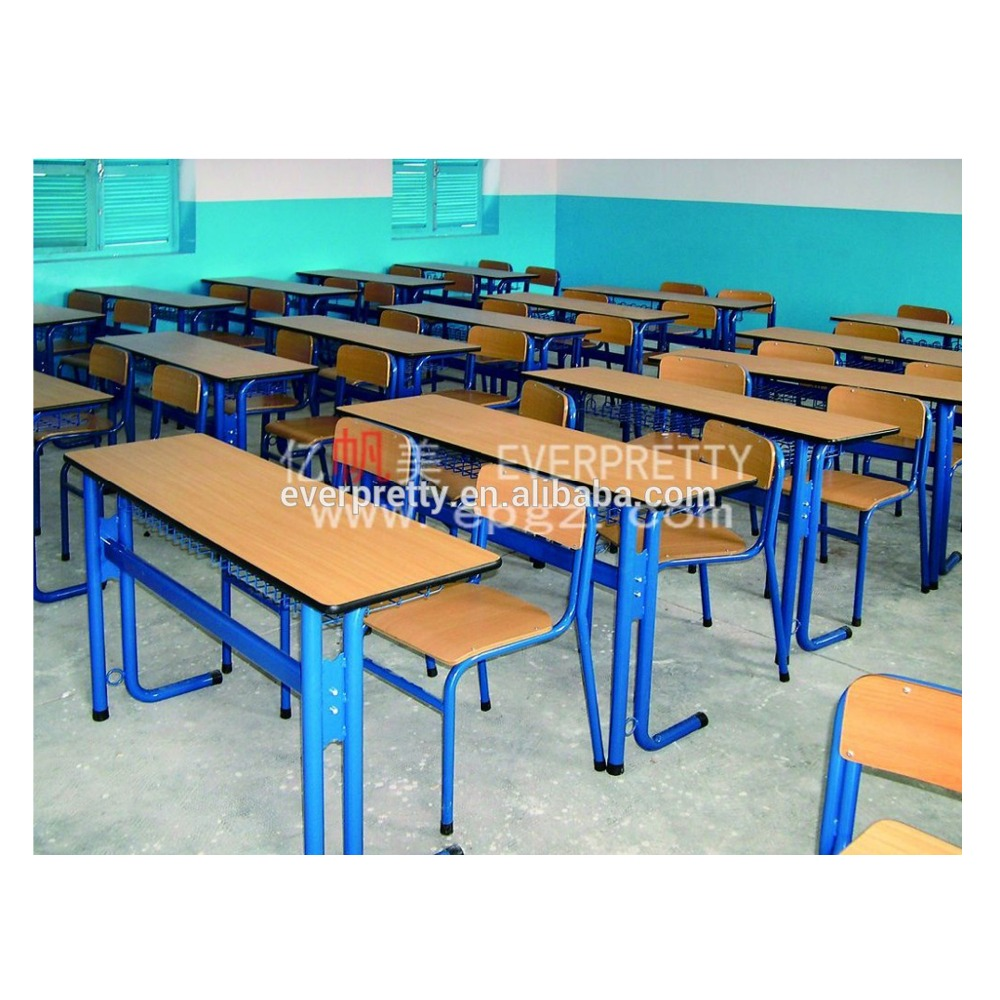 hot sale study school wooden double table with bench, Cheap wood double school desk bench supplier