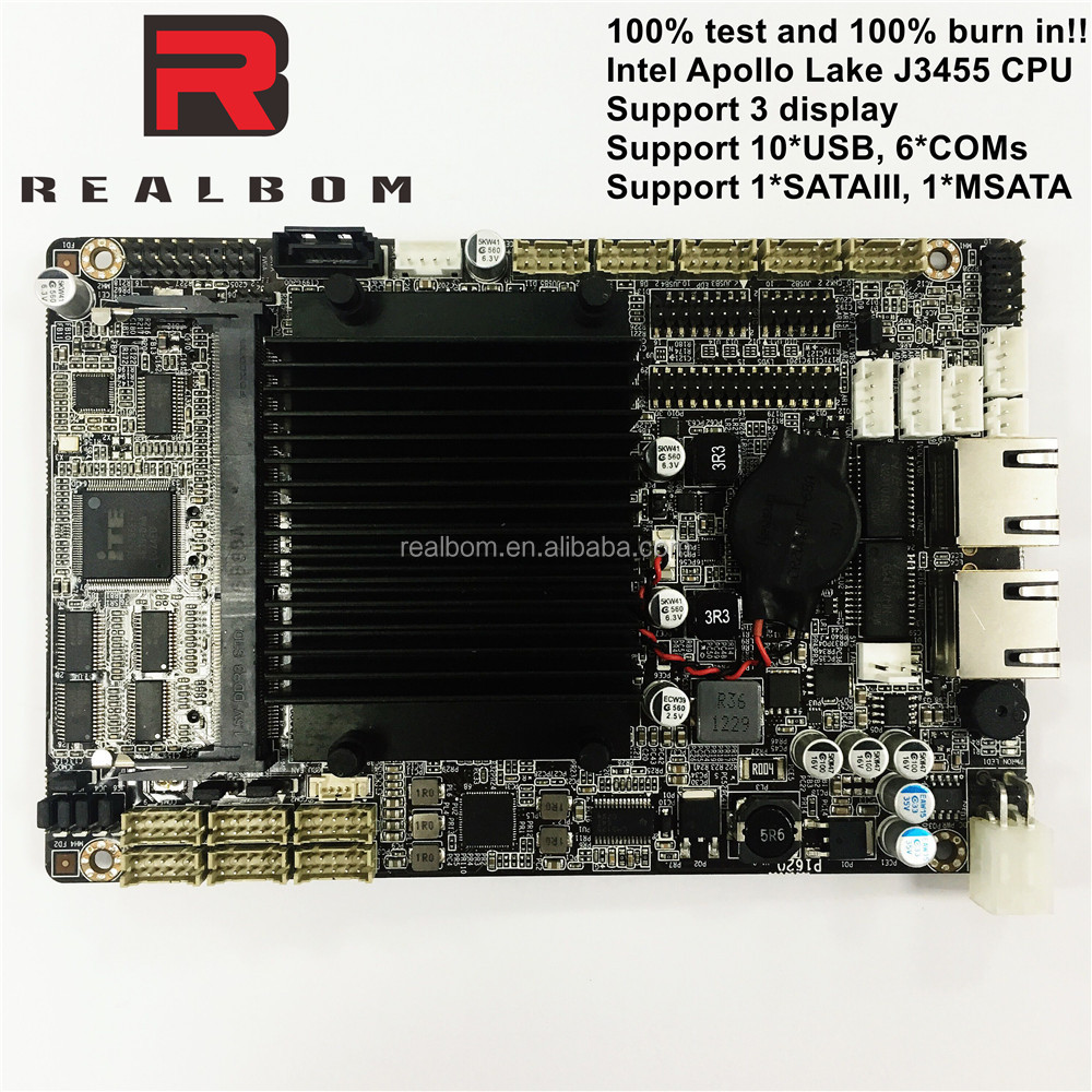 3.5 inch embedded industry motherboard Intel Apollo lake J3455 4*cores, support 3 display VGA&LVDS&EDP