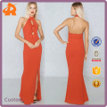 New Arrive Apparel Fashion Party Dress Front Split Keyhole Maxi Ladies Dress