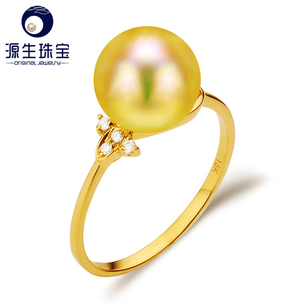 18k gold Latest simple design pearl wedding ring for women