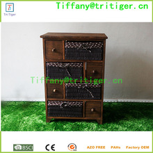 Home storage <strong>furniture</strong> wooden cabinet with rattan/wicker/rush straw baskets drawers cabinet