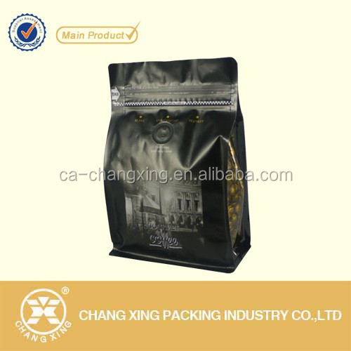 food bag with reseal zipper and valve for coffee bean/plastic food package
