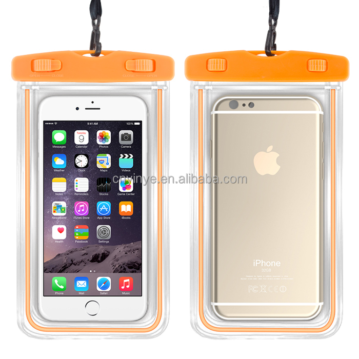 pvc luminous waterproof phone case touch responsive and watertight sealed system ,waterproof bag for swimming