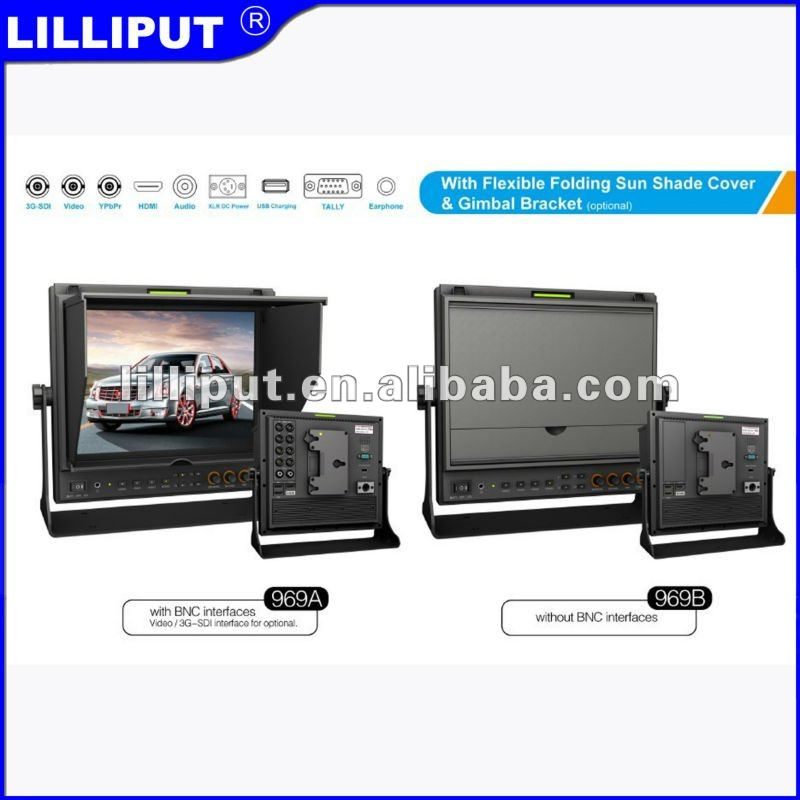 Lilliput 9 inch monitor with HDMI, component and composite video for broadcast applications