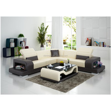 Customized color modern style L-shape living room leather sofa