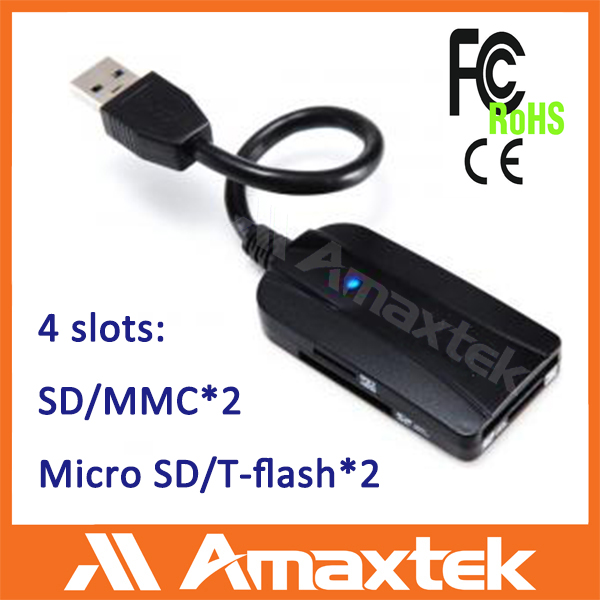 Hot sale 4 Slots USB 3.0 sd card reader extension cable