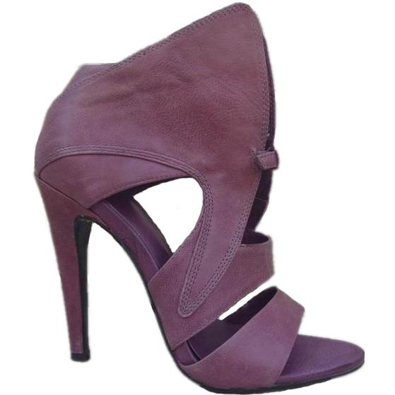 Sexy Purple Leather High Heel Women Sandals Fashion Dress Shoes