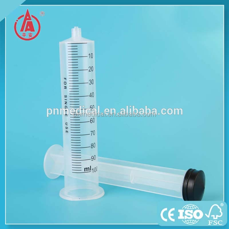 High quality cheap medical PE packing luer lock 100cc syringe