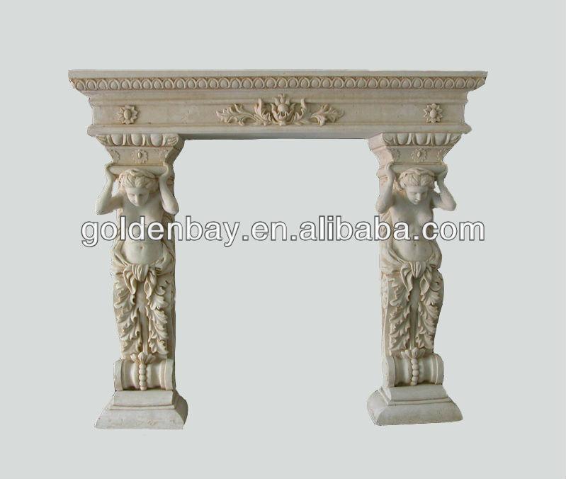 Mano tallada repisa de la chimenea chimenea marmol indoor - Repisas de marmol ...