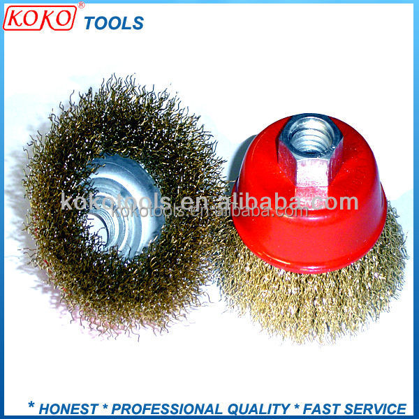 "3"" X <strong>M10</strong> X 1.5MM Screw type Copper plated industry steel wire cup brush"