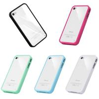 Clear Silicone Frosted Frame Transparent PC Back Cover Case for iPhone 4/4S