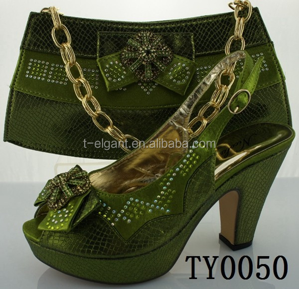 Green African Shoes And Bag Set/matching Italian Shoe And Bag Set /italian Shoes And Bags To ...