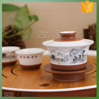ceramic tea cup set with bamboo tray