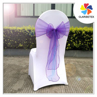 China fabrics purple organza pageant chair sashes