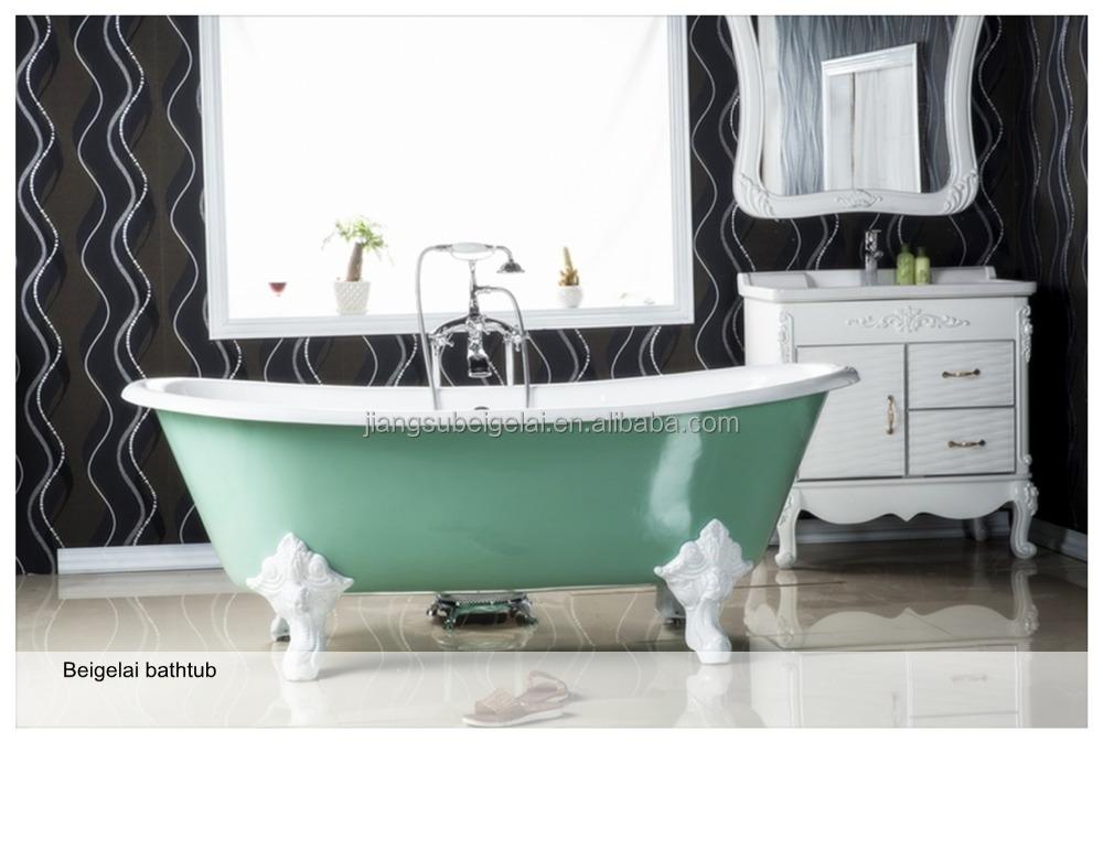 Cast Iron Bath TubSmall Freestanding BathtubLight Green Color