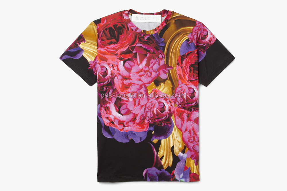 China custom all over print wholesale floral printed t for Wholesale t shirt printing china