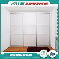 Storage white wooden sliding door wardrobe armoire from china wholesale
