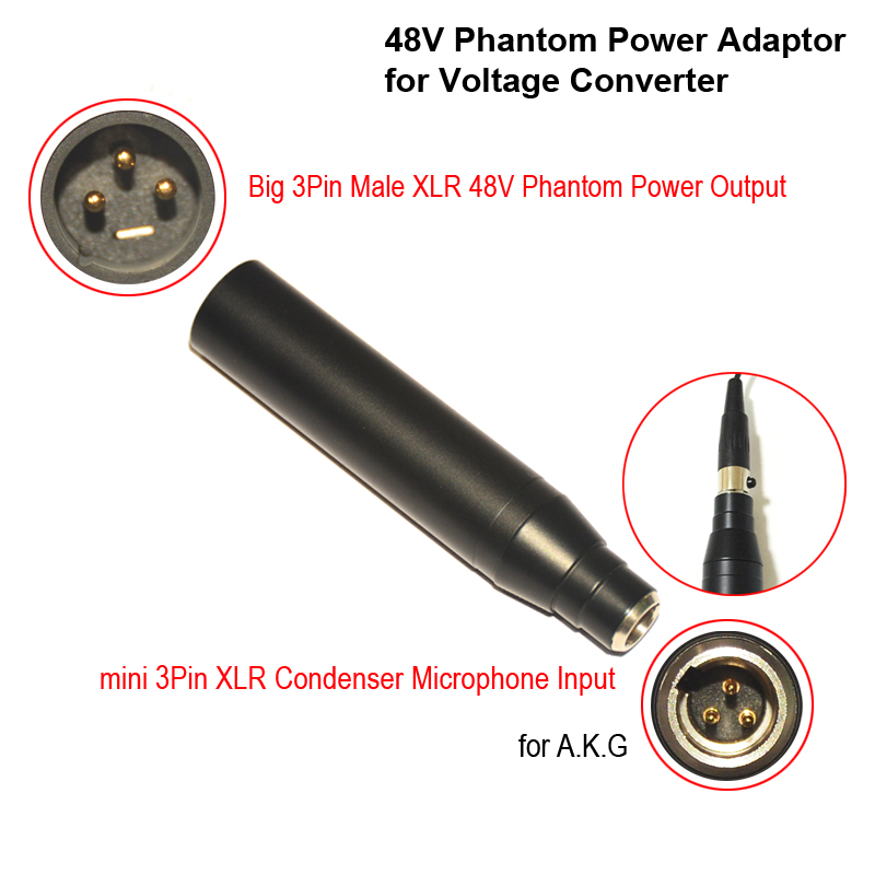 XLR-3 Condenser Mic XLR Adaptor TA3F Mini 3Pin Condenser Microphone XLR to 3Pin Male XLR Phantom Power <strong>Adapter</strong> for Mixer or PA