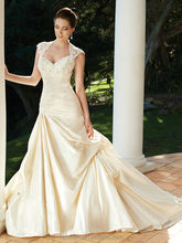 champagne satin lace backless ball gown cap sleeve wedding dresses china robe de mariage