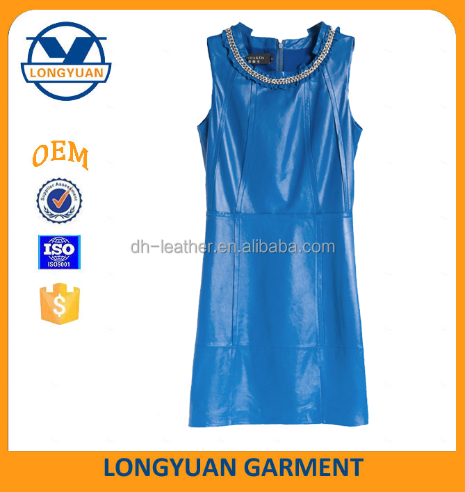 new design sleeveless leather dress for office lady