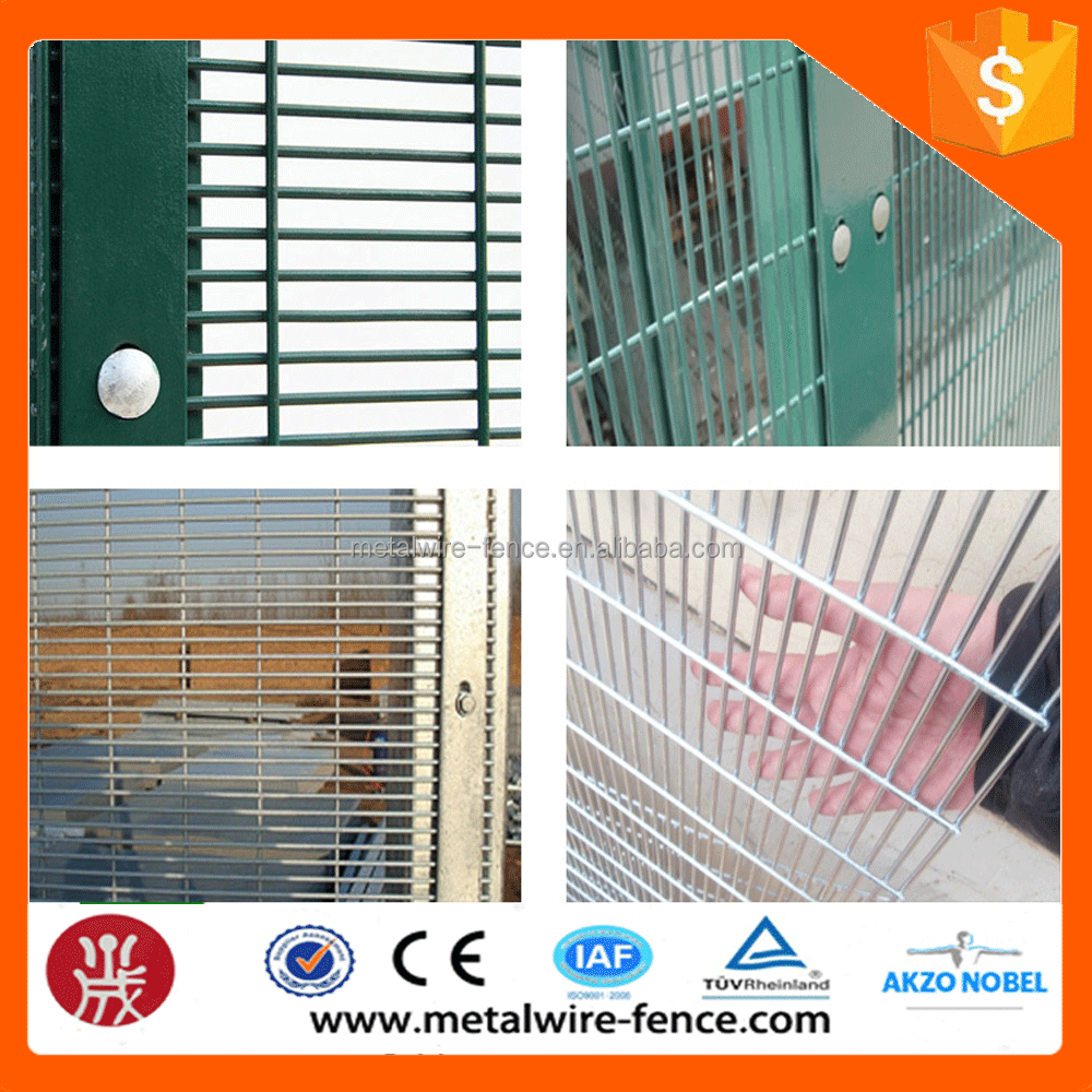 2016 Anti climb 76.2*12.7mm holepvc coated 358 security fence prison mesh for prison(Guangzhou Factory)
