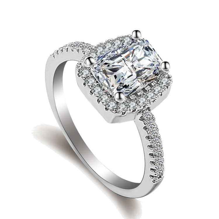 KY-31 Engagement Ring Princess Cut Ladies Designs Silver Diamond Finger Ring Jewelry