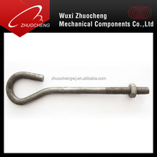 stainless steel 304 316 a2 a4 customized j bolt with nut washer