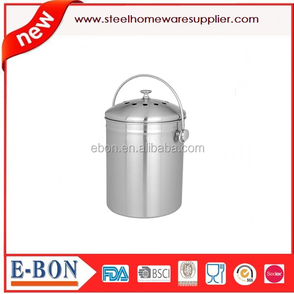 recycle desktop dust bin Stainless Steel Compost Bin