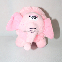 Decorative cute plush pink elephant soft stuffed toy with sucker