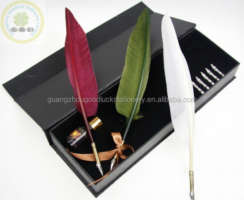 Top Quality Natural Feather Quill Pen With Imprint Logo/Christmas Gift Feather Pen Set