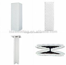 white modern wedding column pillars aisle decoration