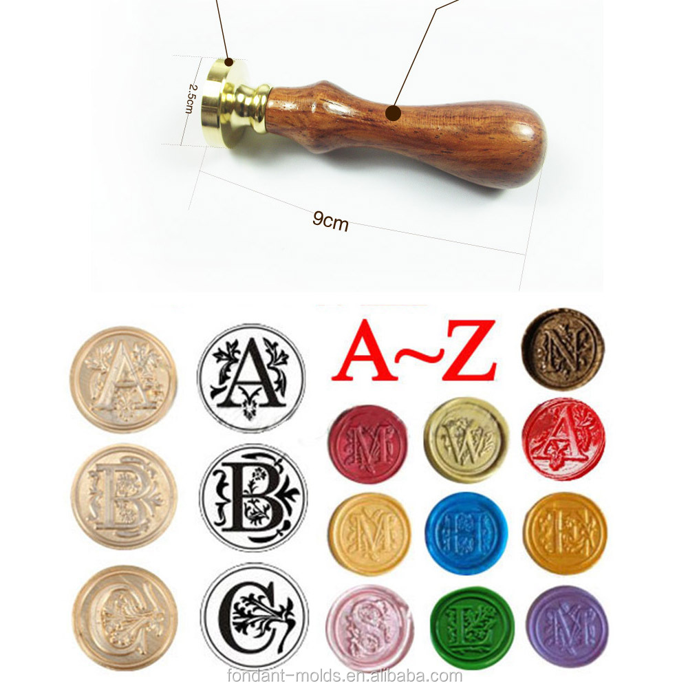 Rosewood Handle Classic 26 letter A-Z Alphabet Initial Sealing Wax Seal Stamp