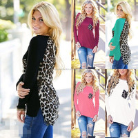 ladies knitted fashion new design long sleeve autumn patch work blouse top