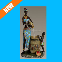 African American Mother and Boy Indoor Water Fountain Art