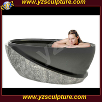 Natural black marble bathtub SNKN-065