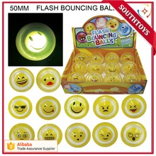 Happy Face bounce back ball 50MM Flashing Bouncing Ball