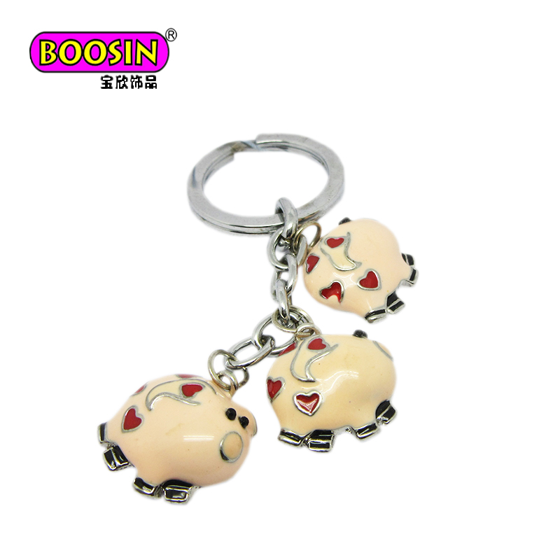 Hot sale 3d pink piggy charm keyrings custom keychain piggy 3d pink charm metal accessories