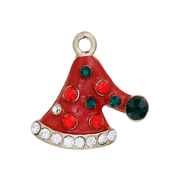 Zinc Based Alloy Gold Plated Red Enamel Multicolor Rhinestone Christmas Hats Charms