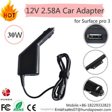 For Microsoft Model 1625 Surface Pro 3 30W Car Charger Adapter 12V 2.58A , 5V 1.5A USB Charger