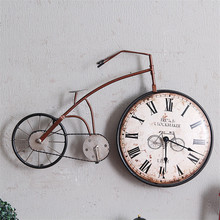 Large metal crafts bicycle shape wall decorative clock wall clock decor