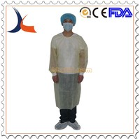 Disposable PP+PE operation gown with tie on yellow surgical gown