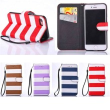 Wholesale Price Fashion Colorful Stripe Pattern Leather Case for iPhone 7,for iPhone 7 Cover