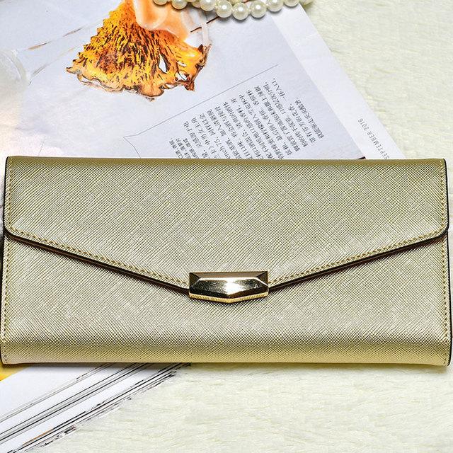 Korea fashion good leather brands ladies hand purse envelope slim wallet women elegant