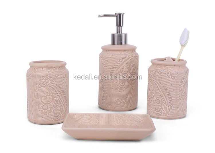 Wholesale blue embossed pattern four sets of bathroom accessory