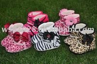 Zebra/cheetah/leopard printed baby boots/baby boots JYS00092