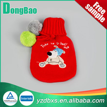 Knitted hot water bottle cover red dog