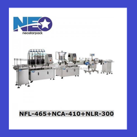 Automated 6 heads filling machine integrated with capper, labeler complete production line for Liquid Packaging