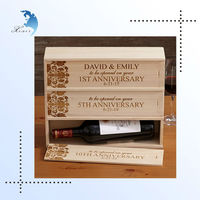 Accept custom order wooden 3 wine bottles carrying case with moving lid
