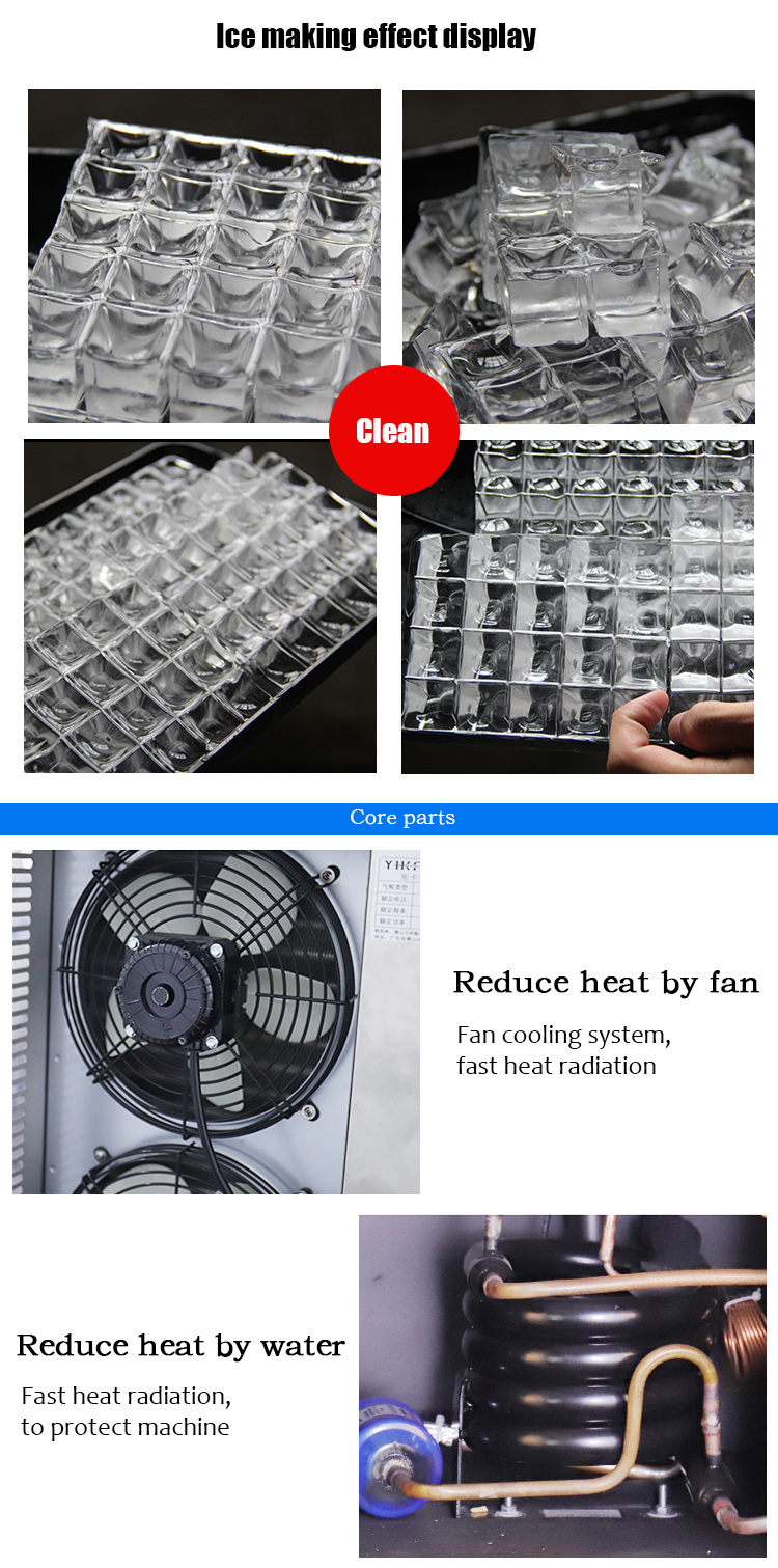 LVNI commercial clear big 100kg 200kg 300kg 1000kg tube bullet block bar ice cube maker making machine with compressor
